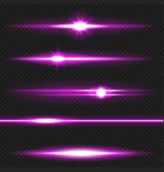 Purple laser beams pack vector