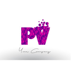 Pv p v dots letter logo with purple bubbles vector