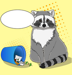 Raccoon eats from the trash a garbage can of vector