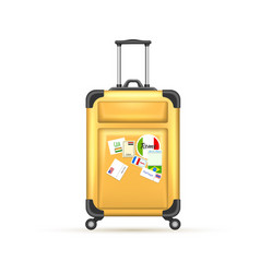 realistic 3d travel suitcase bag vacation vector image