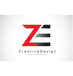 Red and black ze z e letter logo design creative vector