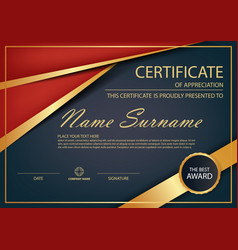 Red gold elegance horizontal certificate vector