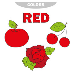 Red learn the color education set vector