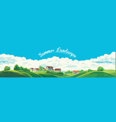 rural panoramic landscape with a village vector image