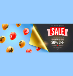 sale special offer banner with bended corner of vector image