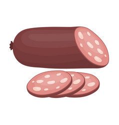 sausage slicedburgers and ingredients single icon vector image