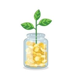 Saving flat money jar with growing plant vector image