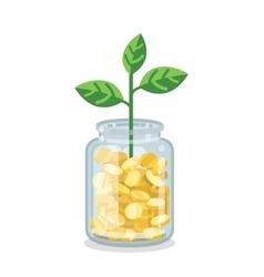 Saving flat money jar with growing plant vector