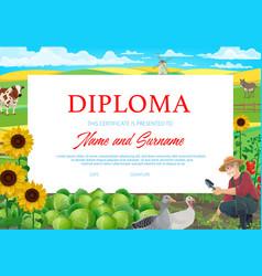School or kindergarten diploma farmer on field vector