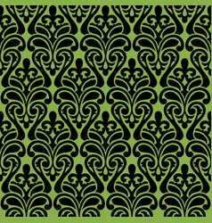 Seamless damascus ornament on greenery background vector