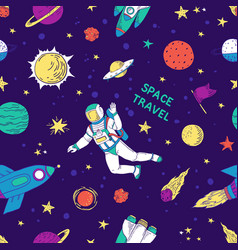 seamless doodle space pattern trendy cute kids vector image