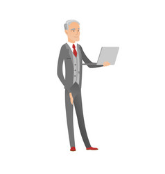 Senior caucasian businessman using a laptop vector