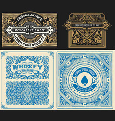 set of 4 vintage card with western style layered vector image