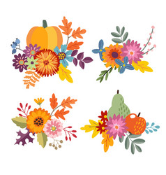 Set of hand drawn bouquets made of pumpkin apple vector