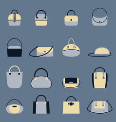 set of stylish women s handbags - tote shopper vector image