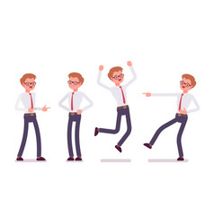 set of young male clerk showing positive emotions vector image vector image