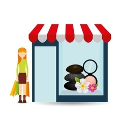 Spa woman buys gifts vector