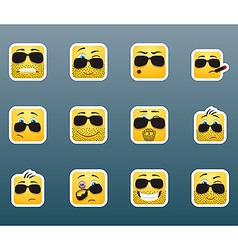 Sunglasses smile stickers set vector image