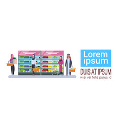 supermarket store with arab people buy grocery vector image