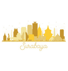 Surabaya indonesia city skyline golden silhouette vector