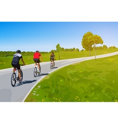Three cyclists vector