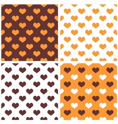 Tile orange white and brown hearts pattern set vector image