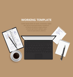 Top view of desk background vector
