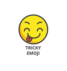 Tricky emoji line icon sign vector