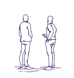 Two man standing back people sketch holding smart vector