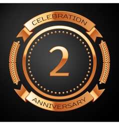 Two years anniversary celebration with golden ring vector