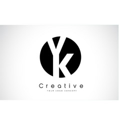 vk letter logo design inside a black circle vector image