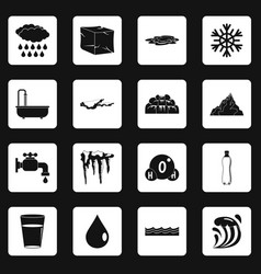 water icons set squares vector image