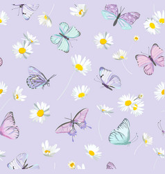 watercolor daisy flowers and butterfly vector image
