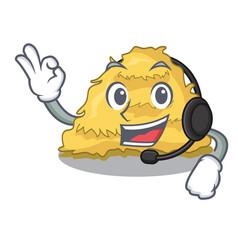 With headphone hay bale mascot cartoon vector