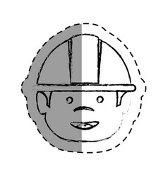 Worker with helmet avatar vector