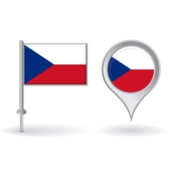 Czech pin icon and map pointer flag vector image