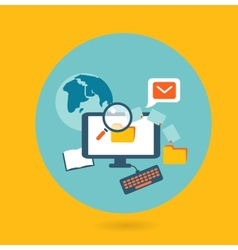 Flat design concept for computer work vector image
