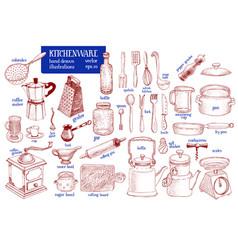 kitchenware set hand drawn tableware and vector image