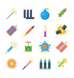 pyrotechnics set of icons in a flat style vector image vector image