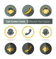 Set of call center icons in different flat styles vector image