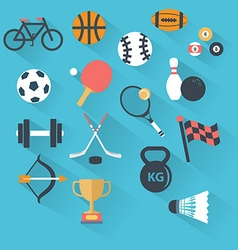 Set of sport icons in flat design with long vector image