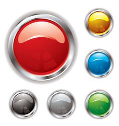 silver bevel gel button vector image vector image