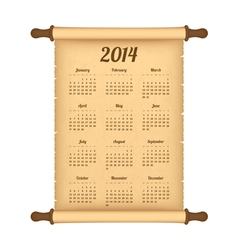 Calendar 2014 on parchment roll vector image vector image
