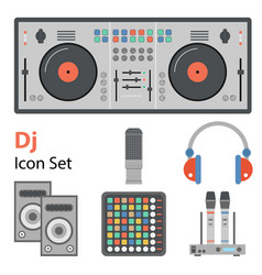 dj flat set vector image