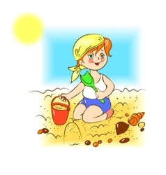 Kid plays in the sand vector image vector image