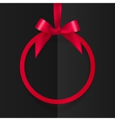 Red round frame with silky bow and ribbon at black vector image