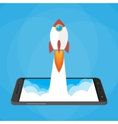 Rocket launched from the phone start up vector image vector image