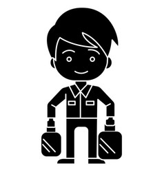 shopping boy with bags icon vector image
