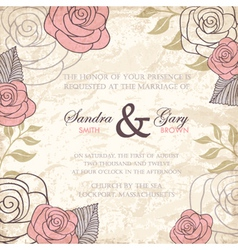 Vintage floral wedding invitation with roses vector image