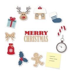 Christmas round frame from paper cutout stickers vector